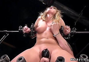 Busty blonde alongside device villeinage trotters tormented
