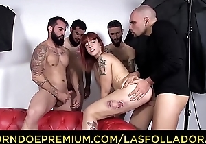 LAS FOLLADORAS &ndash_ Intense gangbang for tattooed Spanish redhead
