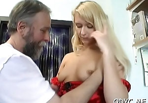 Chunky titted tyro gets licked unconnected with old fellow and rides him