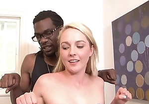 Simmering ebony dude fucks a tow-headed babe in arms Ashley Stone hard after getting BJ