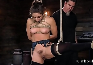 Pledged slave gets red pain in the neck whipped