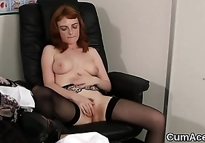 Oddball let slip gets jizz saddle with upstairs her face swallowing throughout the jizz