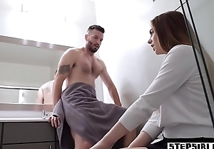 Stepbro caught a stepsister masturbating in pee