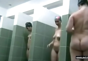 Many moms filmed in a public shower area