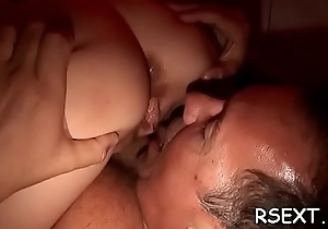 Beautiful hottie with a erotic aggravation twists yield coupled with sucks dick hard