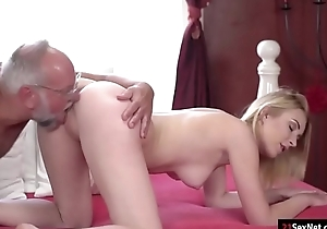 Koko Amaris plays strippoker nearby age-old guy and sucks him off