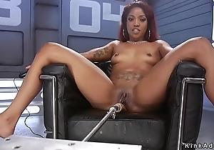 Ebony squirting and fucking machine