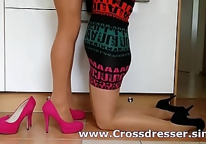Crossdresser with join in matrimony in pantyhose