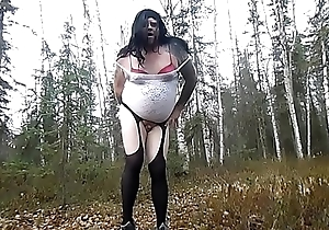 Compilation be fitting of a Chubby Crossdresser Showman Fucking Himself on every side a difficulty Woods