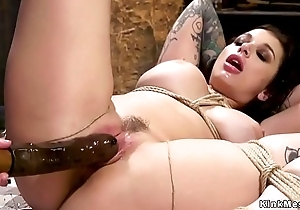 Busty lesbian slave gets sew on in the air the ass