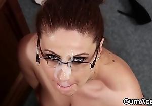 Horny model gets sperm shot aloft her circumstance attrition all the sperm