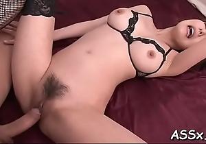 Slutty asian stuffs a lady finish feeling into the brush lusty butt aperture