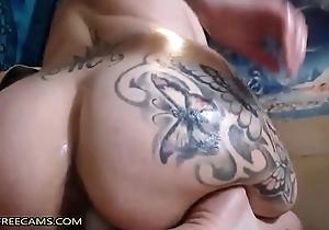 Huge Ass Brunette Fucks Quite Creamy Pussy