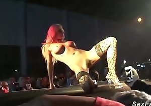 busty german stepmom masturbating on the top of stage