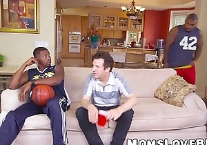 Big breasted MILF smashed by black basketball players