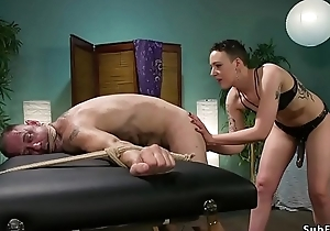 Masseuse gapes with an increment of anal fucks dude