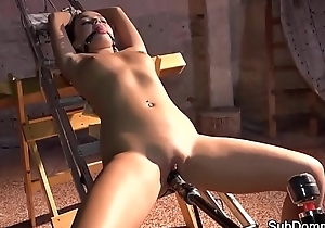 Bound submissive drilled with dildo