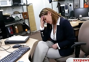 Disingenuous business woman nailed away from cog guy at the pawnshop