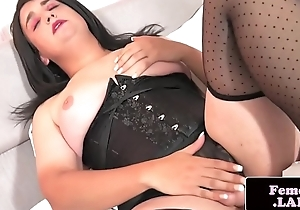 Chubby femboi pleasuring will not hear of cock