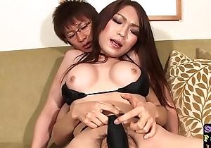 Bikini ladyboy reaches around during sex