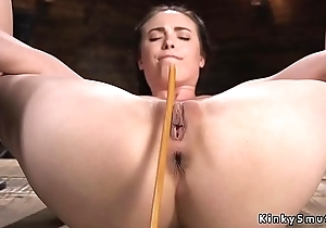 Brown life surrounding device pussy caned