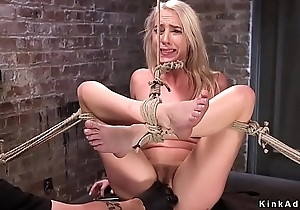 Hogtied slim blonde pussy vibrated