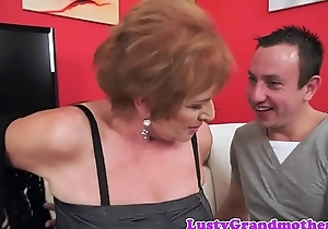 Alluring chubby granny rides obese cock