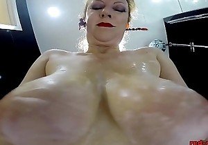 Redheaded Sluts Sleet With Her Nylons On As She Rubs Her Twat