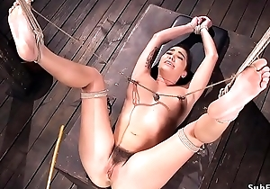 Gradual pussy prexy servant caned
