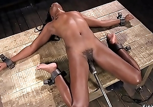 Ebony shocked and machine fucked