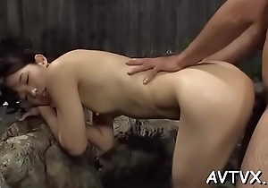 Asian skirt gets the brush shaggy twat drilled ferociously
