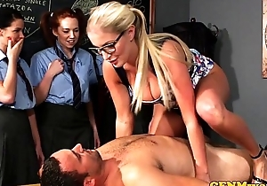 Cfnm sex education from the teacher for desirous beauties