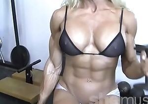 X blond female bodybuilder not far from ahead to throughout top plant out