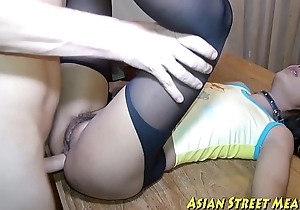 Asian woman dribbles goo after anal intercourse