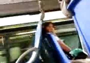 Dick unclouded to thrilling woman beside the bus