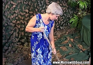Skinny grey haired granny aged vagina drilled