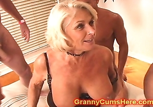Granny receives a gang team fuck coupled with cum bathroom
