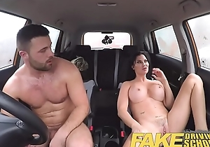 Bit driving school favourable youthful boy tempted away from his breasty milf examiner