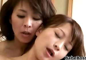 Japanese milf and her step lassie