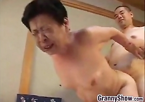 Japanese grandma giving a great oral-stimulation bustle