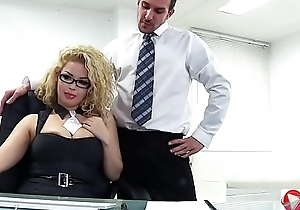 Curly manager boss in stockings fuck in someone's skin off...