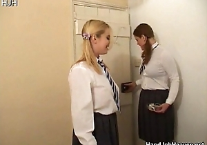 Several schoolgirl strumpets in uniform smokin' coupled with wan...