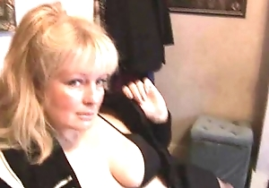 Grown up breasty blond hottie in nylons together with mini ...