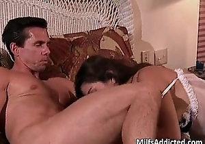 Slutty milf obscurity hair acquires chick with the addition of a-hole