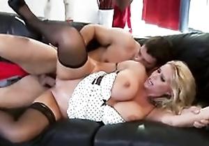 Juicy MILF sucks and fucks Ramon's load of shit 'til she gets facial endowment