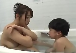 Asian busty old woman with midget diminutive man bathroom hot fucking