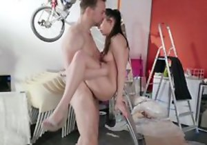 Wonderful partition Rebecca Volpetti hardcore sex, blowjob act and unerring cumshot in mouth, in office with boss