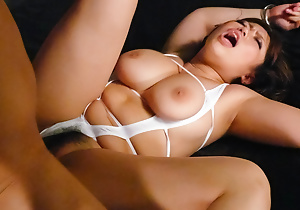 Neiro Suzuka takes several cocks in her mouth, pussy and unemployed her chunky boobs