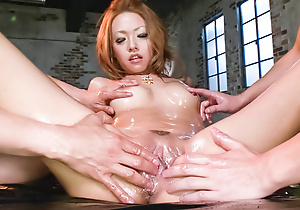 Cock gobbling Rei Miyakawa finds two dicks on hold helter-skelter her circumstance plus her pussy banged hard.