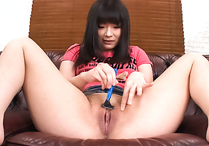 Hina Maeda in the brush apartment stripping out of doors of the brush panties.